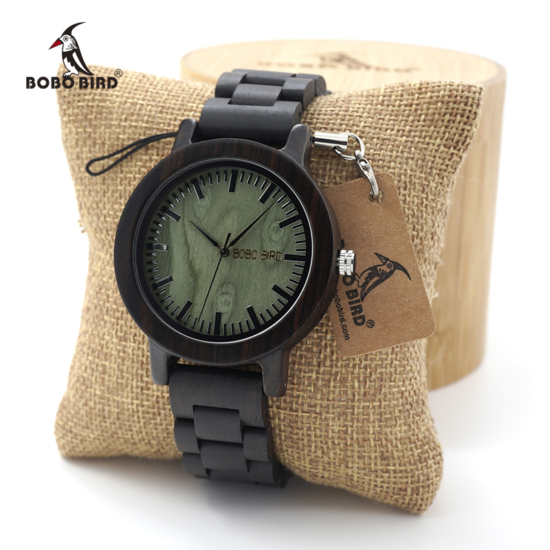BOBO BIRD New Arrival Ebony Wooden Quartz Wristwatches Mens Casual Sport Dress Wristwatches With Full Wood Band in Gift Box недорго, оригинальная цена