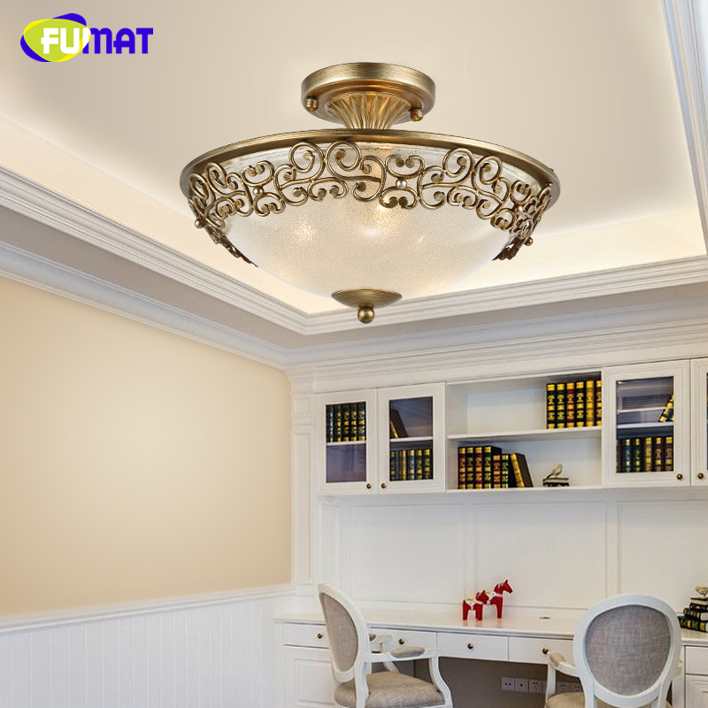 FUMAT American Ceiling Lamp Living Room Dining Room Vintage Brief Glass Ceiling Light European Modern Art Deco Ceiling Lights