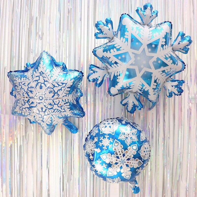 1pc Merry Christmas Supplies Foil Balloons Snowflake Winter Globos Ballon Ice Snow Frozen Princess Ballon Kids Toys Supplies