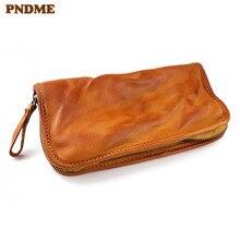 PNDME vintage first layer cowhide men's women's wallet simple handmade soft genuine leather ladies long phone zippers card bags printio цветные монстры