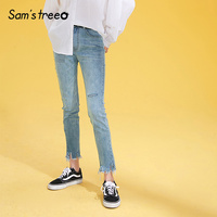 Samstree Frayed Denim Women Pants 2019 Autumn Fashion Cut Leg Opening Washed Jeans Straight Mid Waist Streetwear Casual Trousers