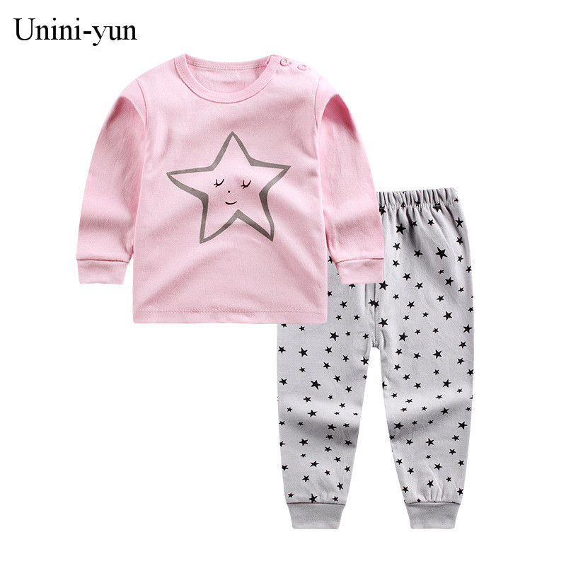 [Unini-yun]Girls Clothes Children Clothing 2017 Brand Toddler Girl Clothing Sets Roupas Infantis Menino Character Kids Clothes