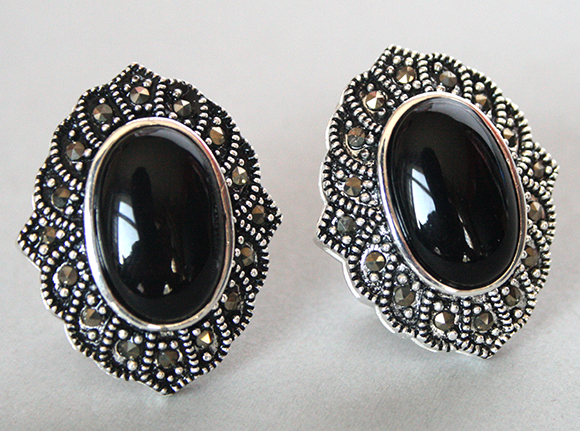 Vintage 925 Silver Natural Black Stone Marcasite Stud Earrings 1 In From Jewelry Accessories On Aliexpress Alibaba Group