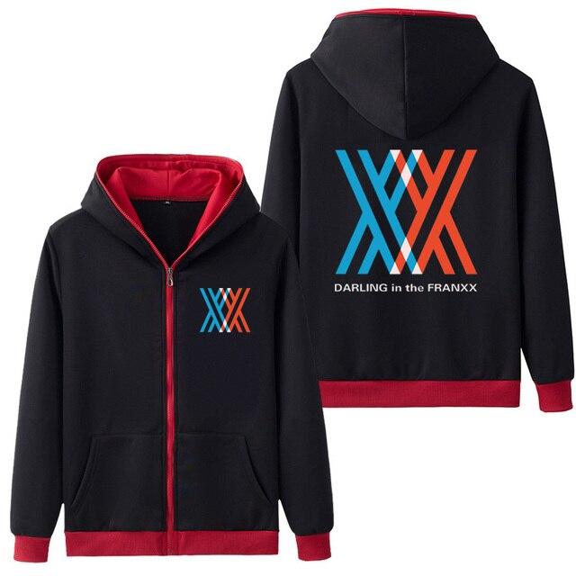 熱い販売フード付きアニメダーリンにfranxxコスプレパーカージッパースウェットシャツコートフーディスウェット&パーカー5色