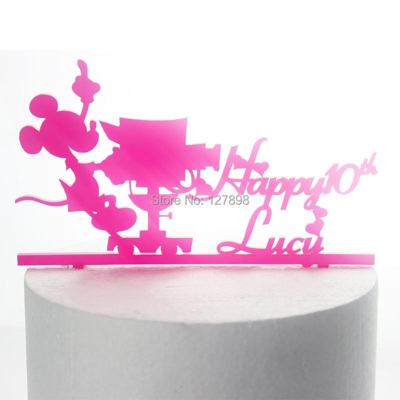 custom name happy birthday cake topper mickey mouse birthday cake