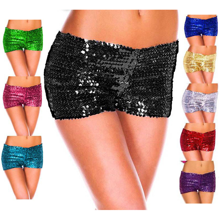 Home Tireless Sequin Shorts Fancy Costume Dance Pants Leg Burlesque Pin Up Wholesale Gold Black Purple Red Silver Blue S-2xl Providing Amenities For The People; Making Life Easier For The Population