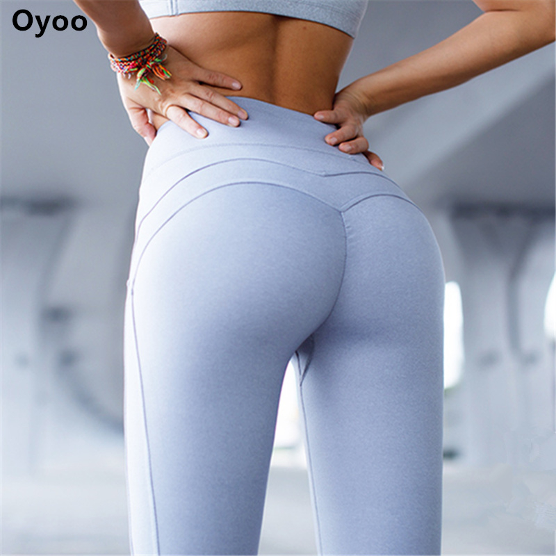 Oyoo Solido Booty Up Sport Legging delle Donne di Compressione Thigts M linea Butt Lift Workout Leggings Hip Push Up Stretch Yoga pantaloni