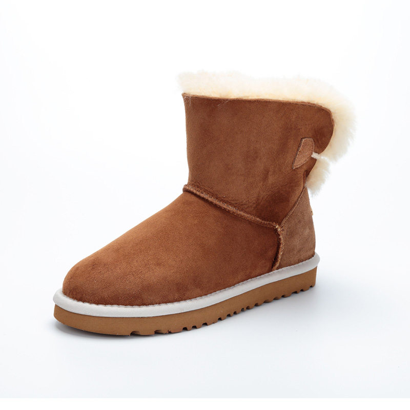 Australia High quality natural sheep fur one snow boots / winter warm big yard female short boots / free shipping