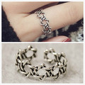 2017 Retro Sterling Sliver S925 Ring SIX-POINT STAR Thai Silver Resizable Ring NOT Allergy Lady Gifts Tires Pure Sliver TE00004