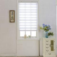 אופקי Sheer עיוור צל חלון תריסי גלילה זברה כפולה וטיפולים לחתוך מותאם אישית גודל לבן וילונות לסלון