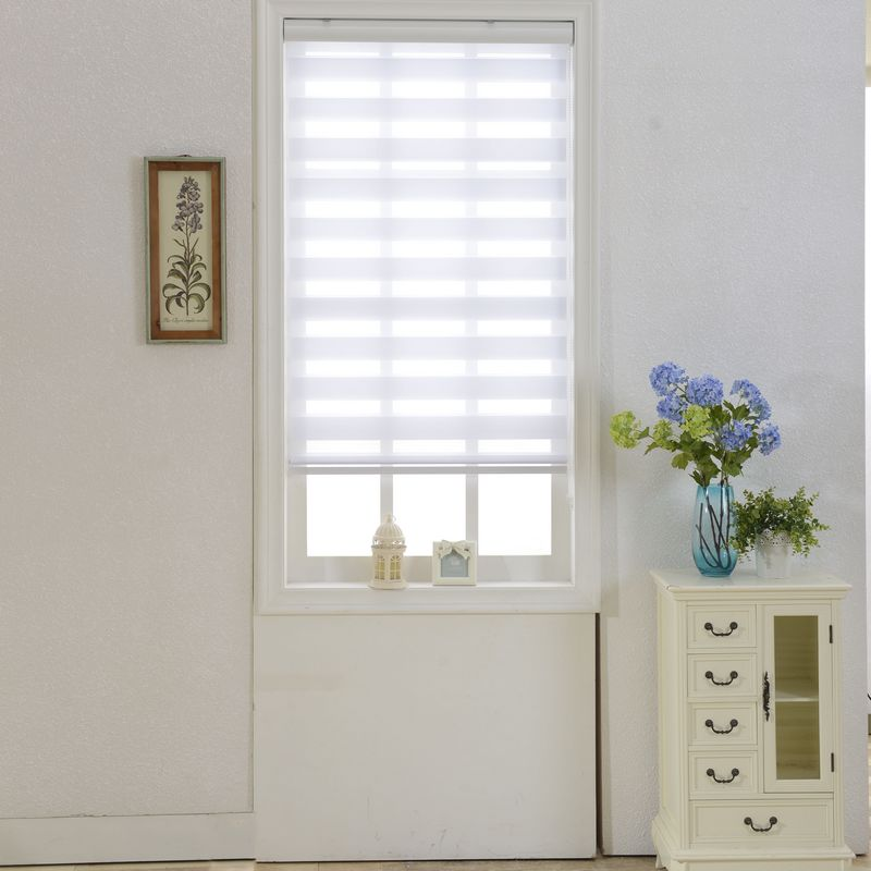 Horizontal Sheer Shade <font><b>Blind</b></font> Zebra Dual Roller <font><b>Blinds</b></font> & Treatments Window Custom Cut to Size White Curtains for Living Room