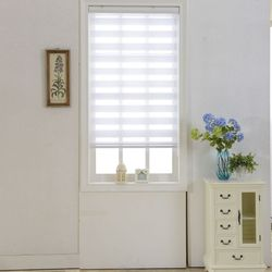 Zebra Blinds Horizontal Sheer Shade Double Layer Roller Blinds Window Custom Cut to Size White Curtains for Living Room