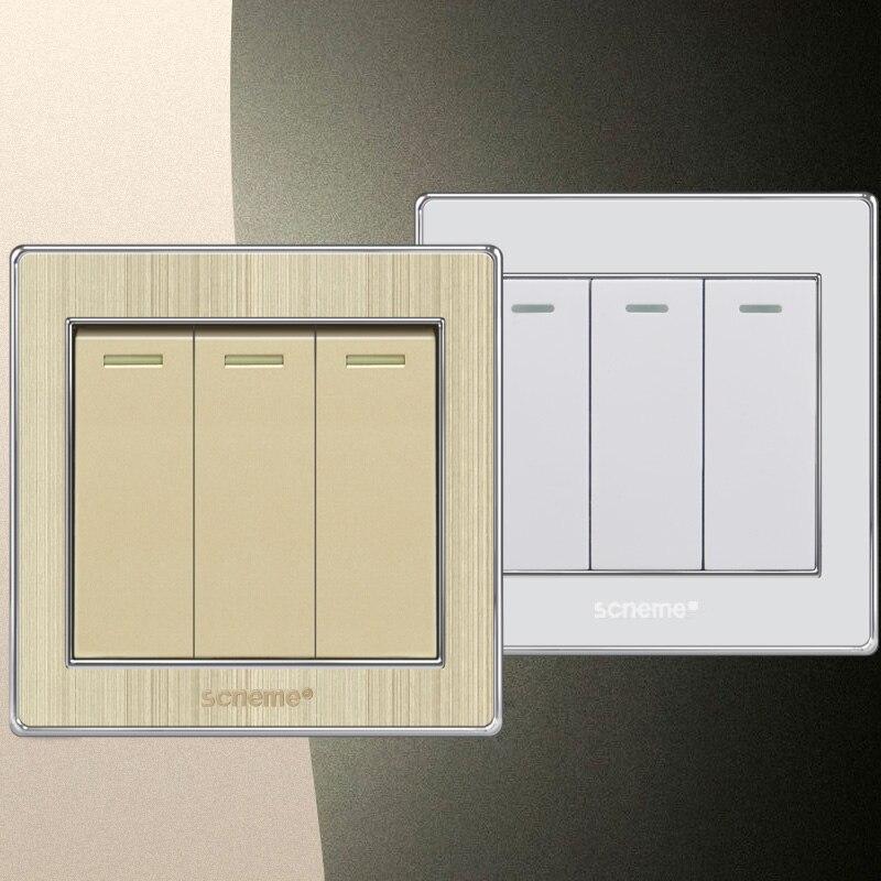 Reino Unido estándar champán/blanco de lujo panel de interruptores 110 ~ 250 V lámpara swich 3 Gang 1 manera interruptor de la luz, 86*86mm Home pared
