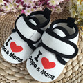 High Quality 2017 Baby Boy Girl First Walker White Color Soft Bottom Infant Toddler Moccassins Cotton I Love Mama And Papa Shoes