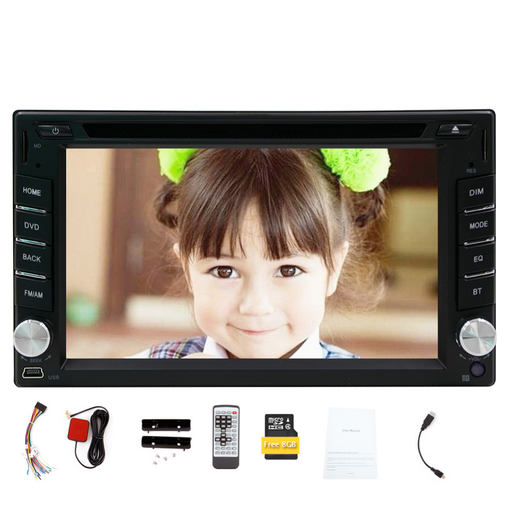 Car Stereo Double 2 din GPS Car Dvd Player in Dash Navigation Touch Screen for Univercal Color Black 6.2