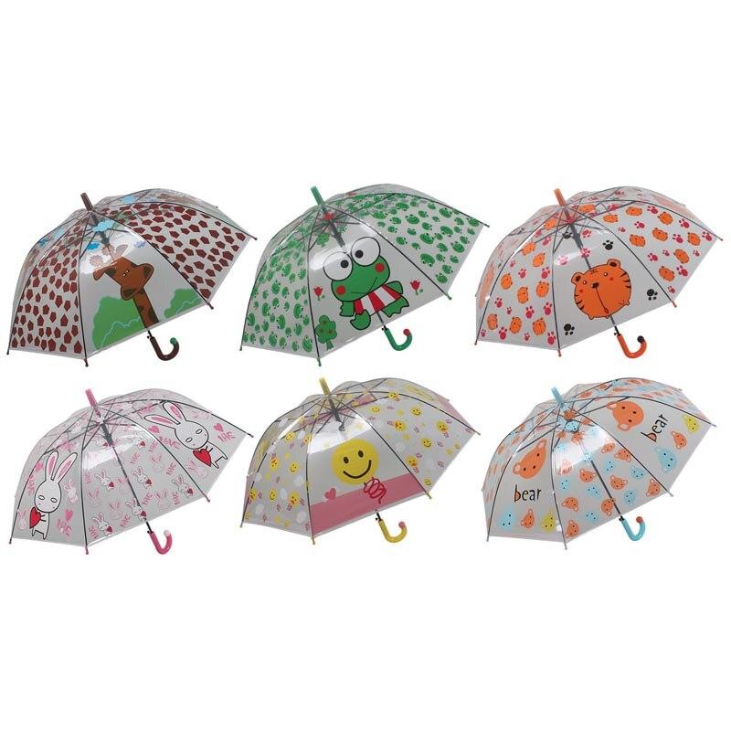 Creativo de impresión de dibujos animados de niño paraguas de lluvia transparente herramientas para niños jirafa animales Rana Tigre conejo oso YS116