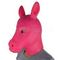 Rubber Pink Latex Fetish Horse Mask Full Head Hood Fetish Animal Suits