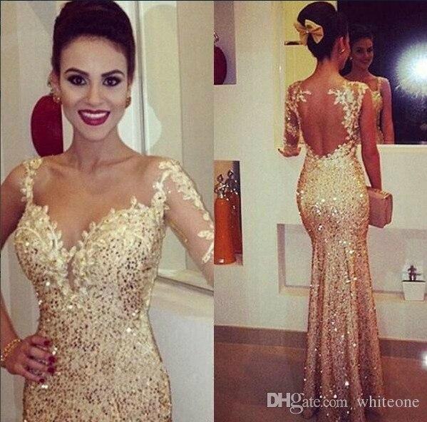 2015 montrer une robe de soirée sirène à manches longues, paillettes dorées pailletées, paillettes paillettes, dos nu ouvert, longueur de plancher, robes de bal