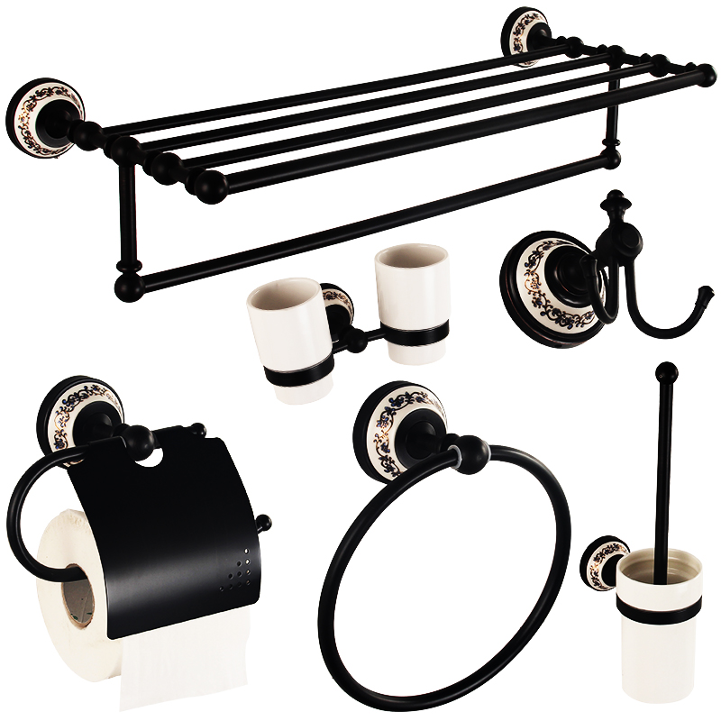 Black Antique Bathroom Hardware Set