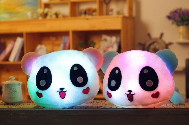 50 см 20 '' световой чучела панда игрушки из светодиодов светло-до плюшевые куклы свечение подушку музыка играет авто вращения цвет с подсветкой подушки