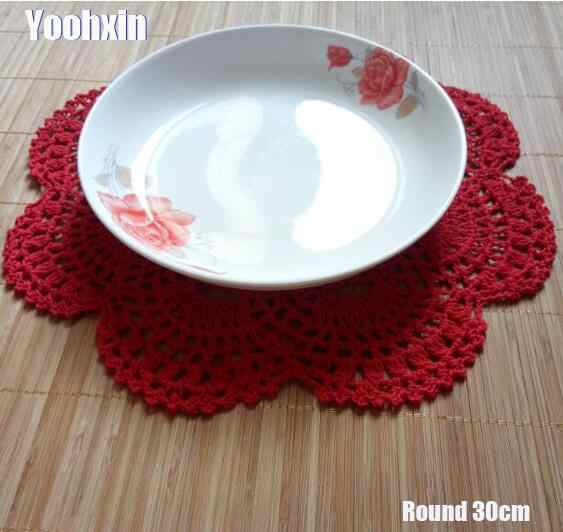 Top Round Lace Cotton Table Place Mat Crochet Coffee Placemat Pad