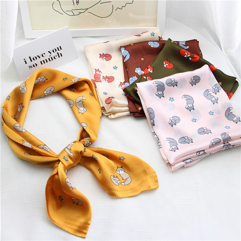 70cm Fox Design Silk-like Square Scarf For Women Female Elegant Head Bandage Print Bandana Foulard Femme