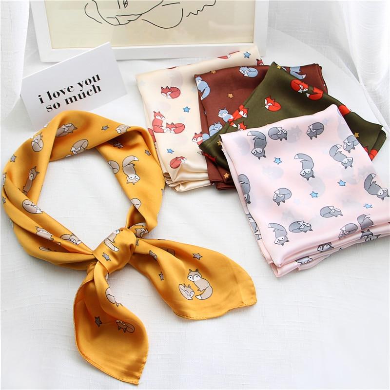 70cm Fox Design Silk-like Square Scarf For Women Female Elegant Head Bandage Print Bandana Foulard Femme