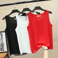 Mode Marke sleeveless frauen bluse 2020 Sommer Neue Chiffon hemd Sheer O-ansatz Beiläufige bluse Plus Größe 4XL Lose Weibliche tops