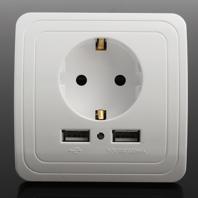 Best Dual USB Port 2A Wall Charger Adapter EU Plug Socket Power Outlet Panel
