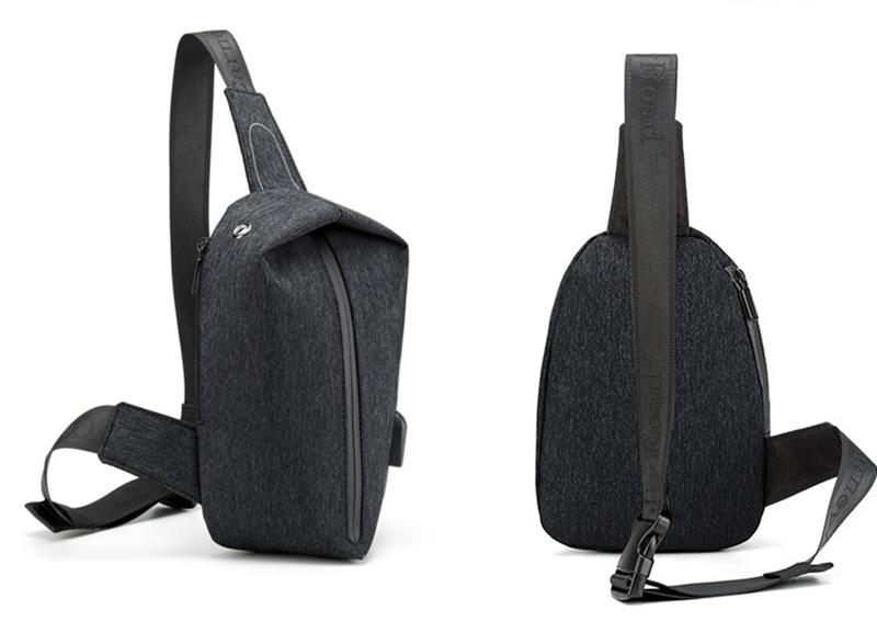0df1f9c1495b 2018 New Trendy Men  Chest Bag USB Charging Black Messenger Bag With ...