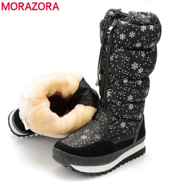 MORAZORA ใหม่มาถึง 2018 หิมะอุ่นรองเท้าผู้หญิง suede หนังลูกวัวกลางรองเท้ากันน้ำ plush รองเท้าผู้หญิงฤดูหนาวรองเท้า