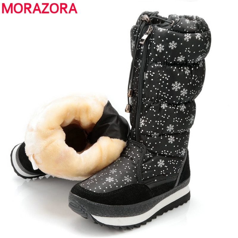MORAZORA New arrival 2018 warm Snow boots ladies suede leather mid calf boots waterproof plush female shoes women winter boots