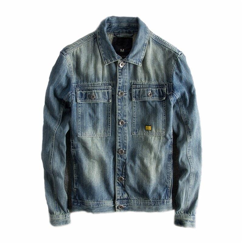 Japoński Harajuku w stylu Vintage znajdujących się w trudnej sytuacji niebieski Jean kurtka dla mężczyzn miejskich chłopcy Streetwear Hip Hop niebieski kurtka dżinsowa Plus rozmiar w Kurtki od Odzież męska na  Grupa 1