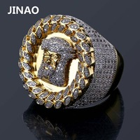 JINAO New Design Men Ring Micro Paved AAA Zircon Gold Color Plated Jesus Head Finger Rings for Men Women Size 8 12