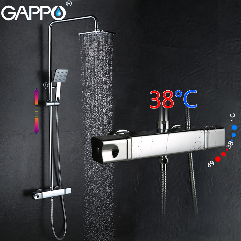 GAPPO shower faucet bath tap mixer rainfall shower set thermostatic bathroom mixer tap wall mount shower mixer tap dofaso quality black and chorme mixer thermostatic shower faucet bathroom wall mount simple thermostatic shower mixer set