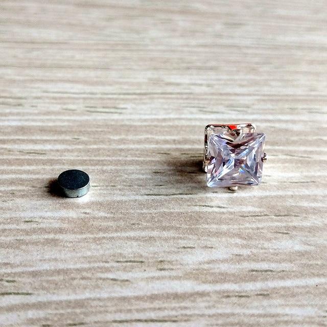 1 PC 8MM Cubic Zirconia Magnetic Earring Geometric Stone Magnet Earrings Clips No Piercing Stud Earrings For Women Ear Jewelry