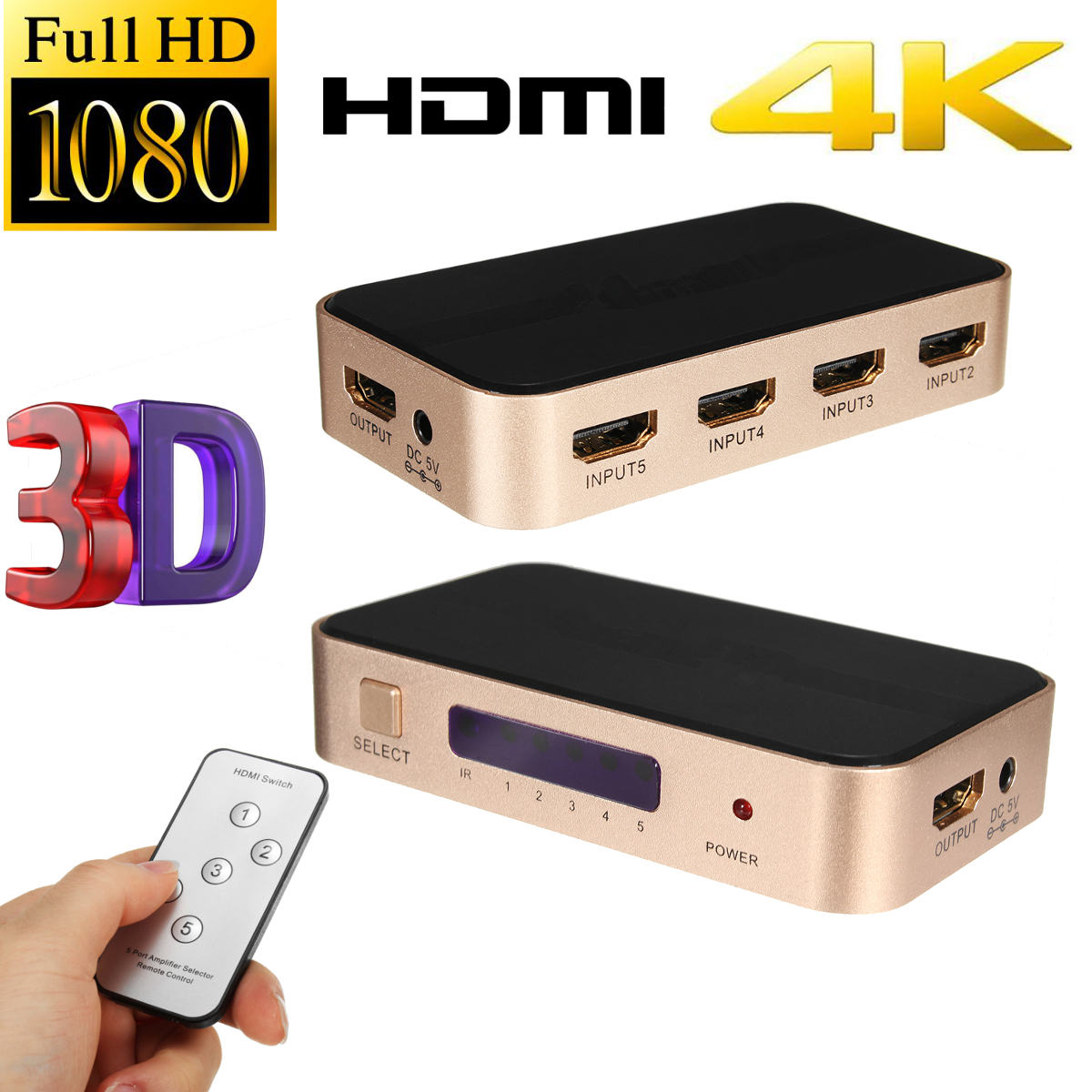 5 Port 5x1 Full HD 1080P HDMI 1.4 10.2 Gbps 3D HDMI Switch Switcher Selector Splitter With Remote For HDTV For PS3 full 1080p hdmi 4x1 multi viewer with hdmi switcher perfect quad screen real time drop shipping 1108