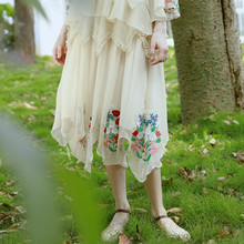 LYNETTE'S CHINOISERIE Embroidery patchwork andchemical baimuer patchwork irregular skirt bust skirt