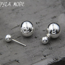 100% 925 Sterling Silver Trendy Stud Earrings Jewelry Double Balls Earrings for Women Fashion Jewelry Gift 8mm 12mm 14mm TYC173