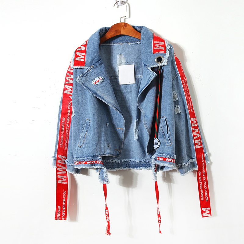 Ribbon Letter Embroidery Bomber Denim   Jacket   Women Hole Irregular Short Jean   Jacket   Coat Casual   Basic     Jacket   Outerwear Tops