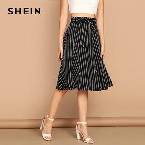 Image 3 - SHEIN Boho Black and White High Waist Striped Belted Shift A Line Skirt Womens 2019 Spring Elegant Casual Streetwear Midi Skirt
