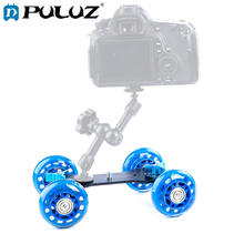 PULUZ Mini Desktop Video Camera Rail Track Truck/Floor Table Slider Track Dolly Car for Canon Nikon DSLR Camera/Camcorders