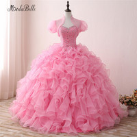 Modabelle Sweet 16 Pink Organza Quinceanera Dresses With Jacket Long Ball Gown Ruffle Sweetheart Beaded Vestido