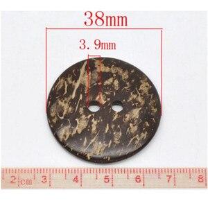 20 шт. 38 мм коричневая Кокосовая Скорлупа 2 отверстия, пуговицы для пришивания скрапбукинга, 2 отверстия, изделия для скрапбукинга, 7NK112