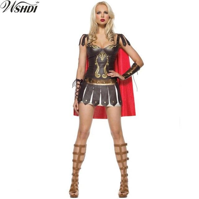 931f943ac1 2018 New Ladies Roman Greek Xena Gladiator Warrior Princess Roman Spartan  Costume Sexy Women Party Cosplay Halloween Fancy Dress