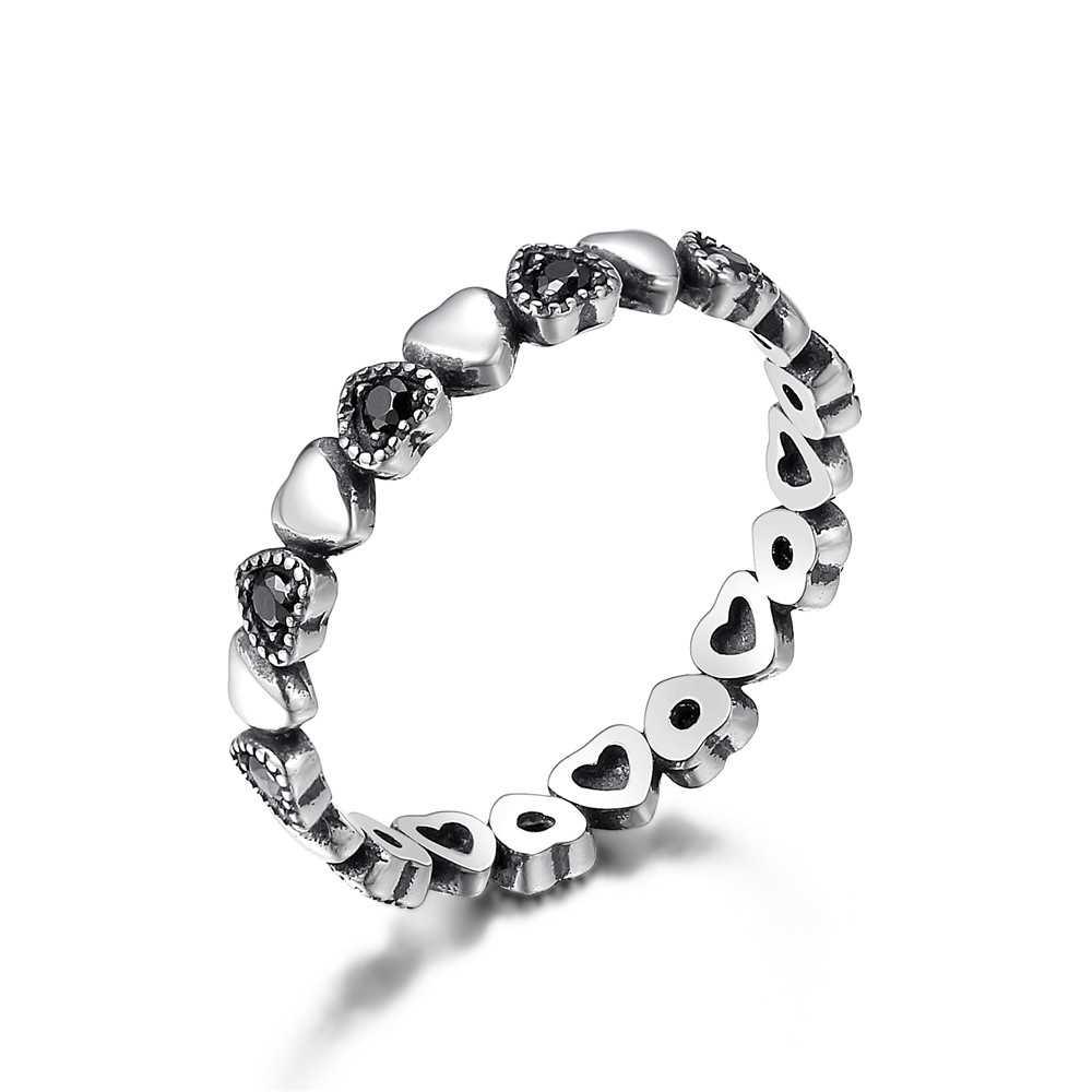 WOSTU 本物の 100% 925 スターリングシルバーグリッタースタッカブルサークル指女性の婚約指輪シルバーラウンドジュエリー DXR066