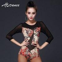 Sexy Leotard Print Latin Dance One Piece Dress Net Femme Mesh Splicing Dance Apparel Adult Women