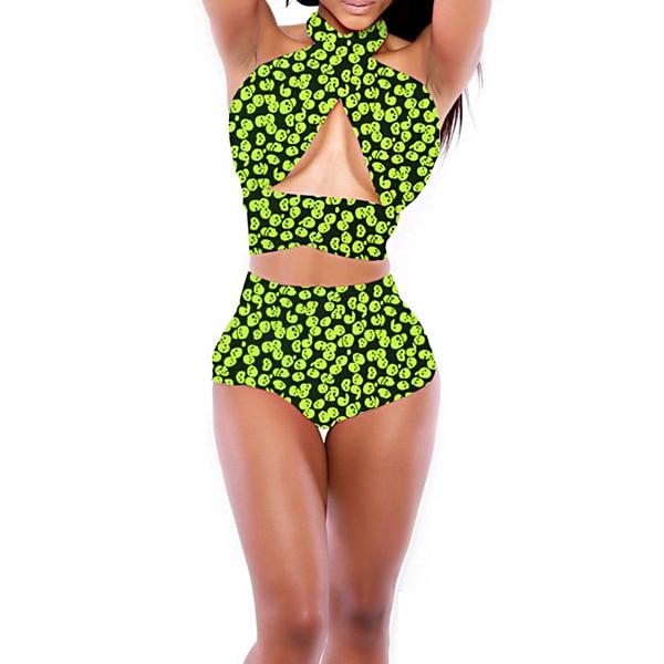 8f90bf79a1 Cheap Price! Retro High Waist Bind Swimsuits Sexy Women Printing Bikini Set  Lady Beach Bathing Suit Push Up Pool Party Swimwear