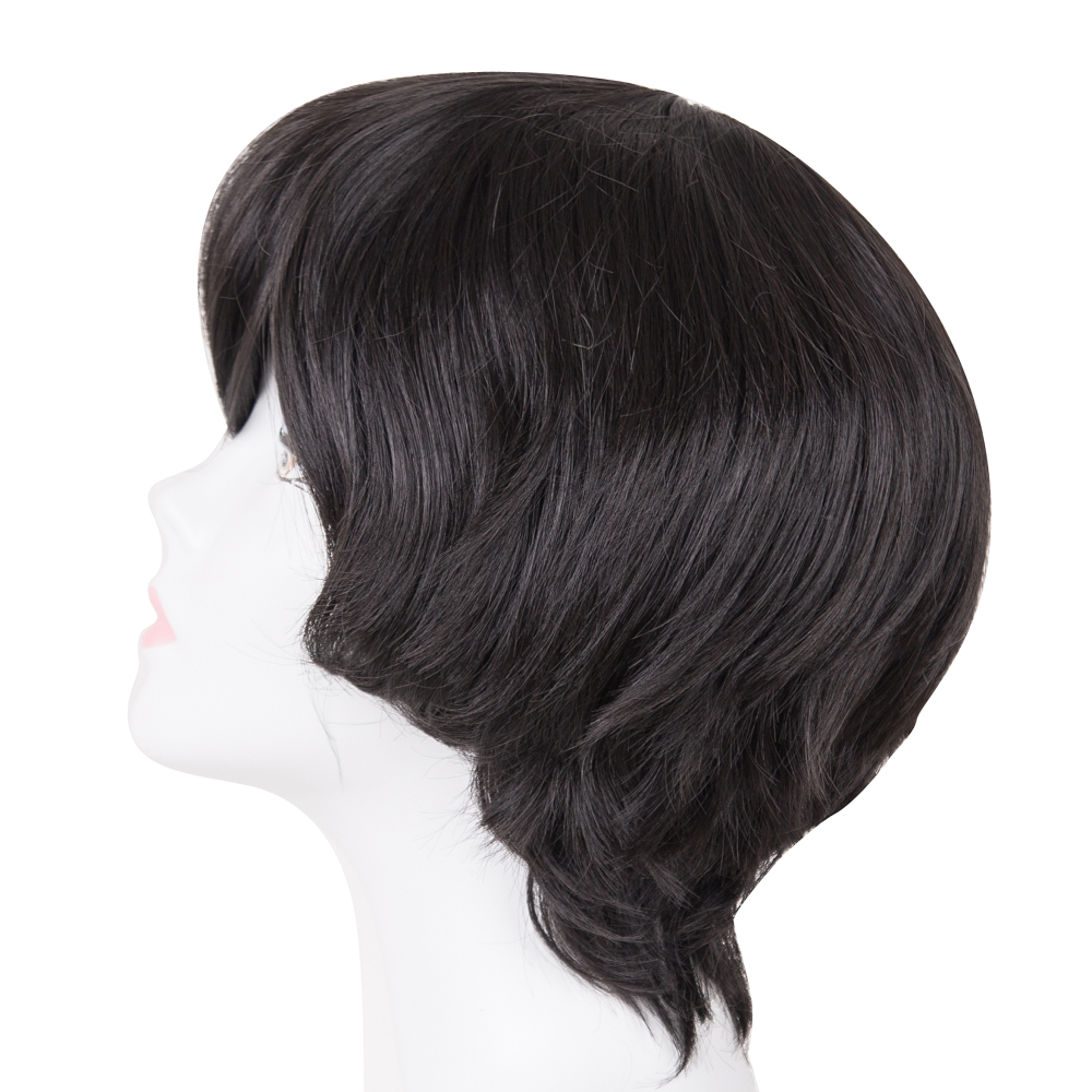Synthetic Wigs Realistic Fei-show Syntheitc Heat Resistant Fiber Short Wavy Black Hair Wig Costume Cartoon Role Cosplay Salon Party Women Student Bob Wig Synthetic None-lacewigs