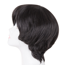 Черный парик Fei-Show, синтетические Жаростойкие Волокна, темно-коричневые светлые короткие волнистые волосы для мужчин и женщин, наклонная че...